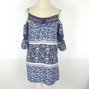My Michelle Sz Small Blue Cold Shoulder Boho Top